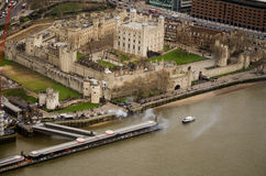 Aerial View, Tower of London. View from a tall building over the landmark Tower of London castle and Royal Palace overlooking the River Thames in the City of Stock Photography