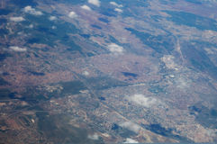 Aerial view of a town. With stadium Stock Image