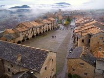 Aerial view of the town of Ainsa in Huesca. stock images