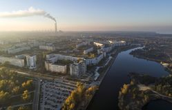 Aerial view of town in autumn at sunset. stock images