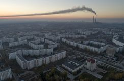 Aerial view of town in autumn at sunset. Energodar, Ukraine. The satellite city of Europe`s most atomic power station. Aerial photography. Top view stock image