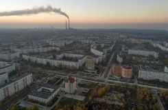 Aerial view of town in autumn at sunset. royalty free stock image
