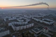 Aerial view of town in autumn at sunset. royalty free stock images
