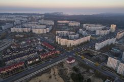 Aerial view of town in autumn at sunset. stock photography