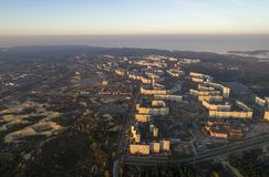 Aerial view of town in autumn at sunset. stock photo