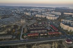 Aerial view of town in autumn at sunset. Energodar, Ukraine. The satellite city of Europe`s most atomic power station. Aerial photography. Top view royalty free stock photo