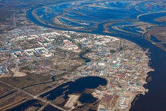 Aerial View of town on the bank river Stock Photo