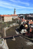 Aerial view of town and castle Cesky Krumlov Stock Photo