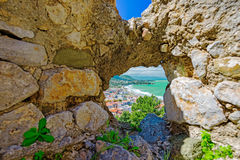 Aerial view of town Cefalu Royalty Free Stock Images