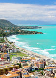 Aerial view of town Cefalu Stock Photography