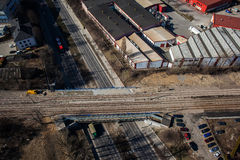 Aerial view of town center Lublin. Railroad tracks, railway bridge, rail royalty free stock images