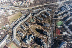 Aerial view of town center Lublin. Aerial view of lublin, residential, old town poland stock image