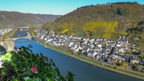 Aerial view of Cochem Germany and the Moselle River Valley. An aerial view of the town of Cochem, Germany and the Moselle River valley, a popular river cruise Royalty Free Stock Photos