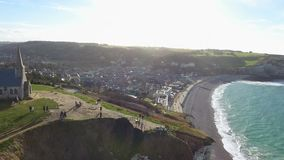 Aerial view of the town Etretat, Normandy, France, 4K December 2016 stock footage