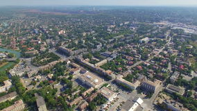 Aerial view of town stock video