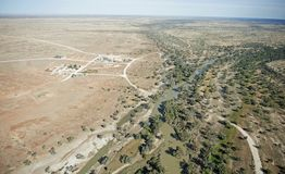 Aerial view of the town of Innamincka Royalty Free Stock Image