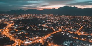 Town of lava. An aerial view of town of Ipoh, Perak, Malaysia Royalty Free Stock Photo