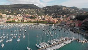 Aerial view of town of Lerici, part of the Italian Rivera stock footage