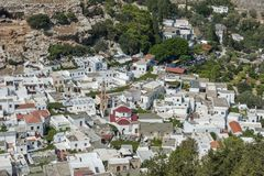 Aerial view of the town of Lindos stock photo