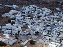 Aerial view of the town of lindos in rhodes greece Royalty Free Stock Images