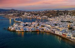 Aerial view of the town of Mykonos after sunset Stock Images