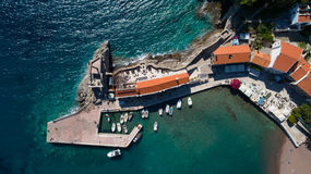 Aerial view of the town of Petrovac stock photo