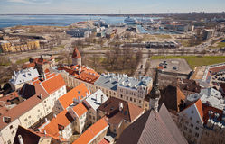 Aerial view on town and port in Tallinn Royalty Free Stock Photo