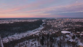 Aerial view of town shot from a drone. Aerial view of town shot from drone at winter sunrise stock video