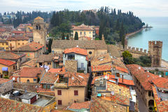 Aerial view on town of Sirmione in Italy. Royalty Free Stock Photo