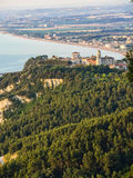 Aerial view of the town of Sirolo, Conero, Marche, Italy Stock Photo