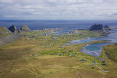 Norwegian island. Aerial view of town of Sorland on norwegian island of Vaeroy, Lofoten islands, Norway Royalty Free Stock Photography