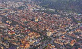 Panorama of Bistrita, Romania, Europe. Aerial view of the town. Typical urban landscape of the city Brasov, situated in Transylvania, Romania, in the center of Stock Image