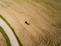 Aerial view, Tractor and Seeder a Field Royalty Free Stock Photo
