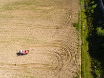 Aerial view, Tractor and Seeder a Field Stock Image