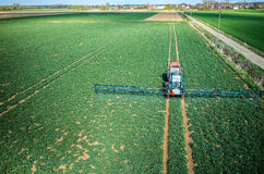 Aerial view of the tractor Stock Photography