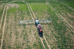 Aerial view of the tractor Stock Photos