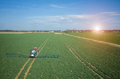 Aerial view of the tractor Royalty Free Stock Photo