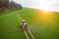 Aerial view of the tractor Royalty Free Stock Photography