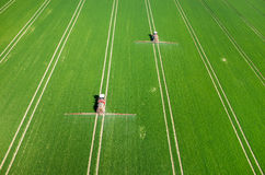 Aerial view of the tractor Stock Image