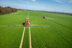Aerial view of the tractor Royalty Free Stock Images