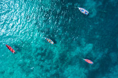 Aerial view Traditional fisher boat in Santa Maria in Sal Isla. Nd in Cape Verde - Cabo Verde stock images