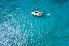 Aerial  view Traditional fisher boat in Santa Maria  in Sal Isla Royalty Free Stock Photo