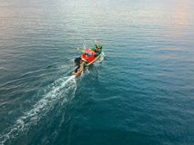 Aerial view of traditional fisher boat in the sea royalty free stock images