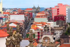 Fun colorful houses in Old town of Porto, Portugal Stock Photo