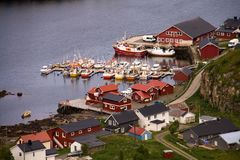Aerial view of traditional Norwegian fisherman Rorbu cabin in small port village called Langenes, Vesteralen, Norway royalty free stock images