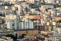 Aerial view of traditional red house roofs at the Naples Town Square, Napoli Italy . urban agglomeration Stock Photo