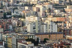 Aerial view of traditional red house roofs at the Naples Town Square, Napoli Italy . urban agglomeration Royalty Free Stock Photography