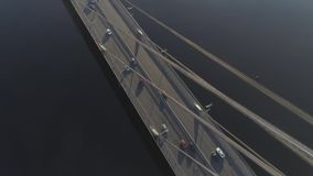 Aerial view of traffic on bridge stock footage
