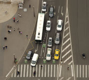 Aerial view of traffic and cars. In intersection Royalty Free Stock Image