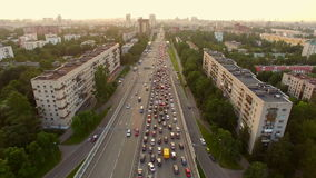 Aerial view of traffic congestion in the city stock video footage